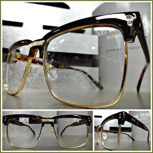 03723ba7f6 Details about Men s CLASSIC VINTAGE RETRO Style Clear Lens EYE GLASSES  Tortoise   Gold Frame