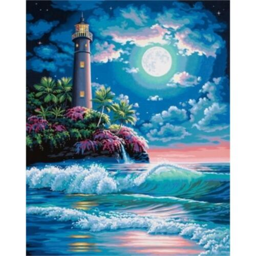 Learn Learning Paintsworks Paint By Numbers Lighthouse In Moonlight Paint Set