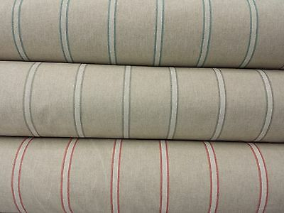 Girones Zen Linen Look Stripe 100% COTTON FABRIC Curtain Craft Designer Fabric