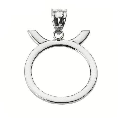 Fine 14k White Gold Taurus May Zodiac Sign Horoscope Pendant Necklace
