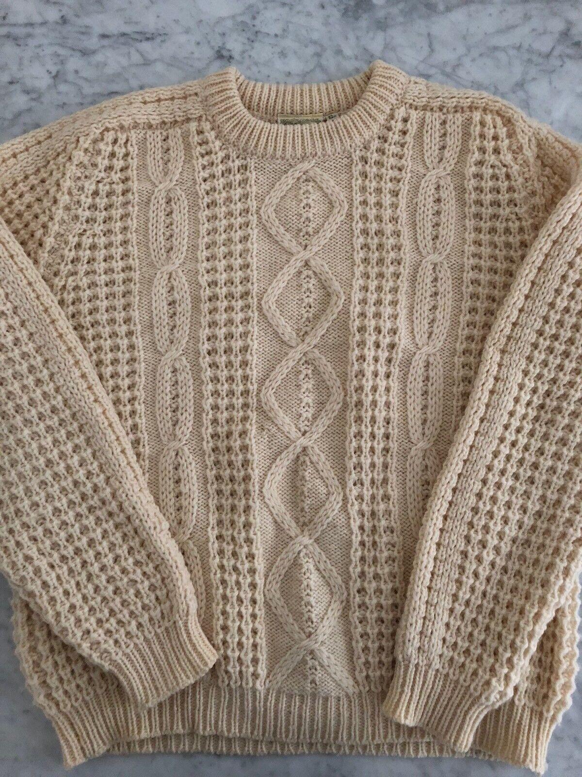 Vtg GAELTARRA  Herren Cream Hand Loomed Cable Aran Knit Fisherman Sweater Sz 44