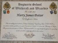 Harry Potter Hogwarts Certificate Diploma & Report Card Personalised Gift