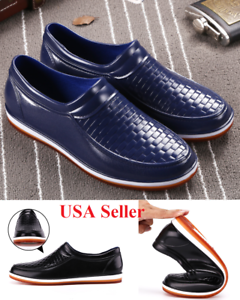 Details About 2019 Men S Restaurant Oil Resistant Kitchen Work Shoes Non Slip Water Rain Shoe