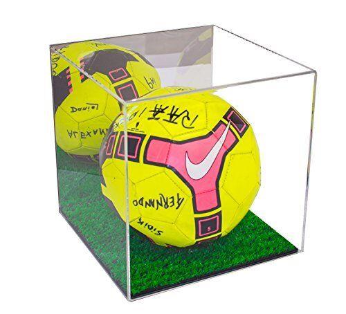 Mirrored Acrylic Soccer Ball Display Case w  Green Turf Floor & UV Predection