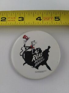Vintage Cat in the Hat Dr. Seuss Read Across America pin pinback button *FF