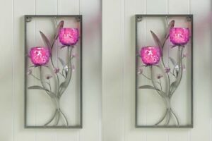 Floral-Wall-Candle-Wall-Sconce-w-2-Magenta-Glass-Candle-Holders-Set-of-2