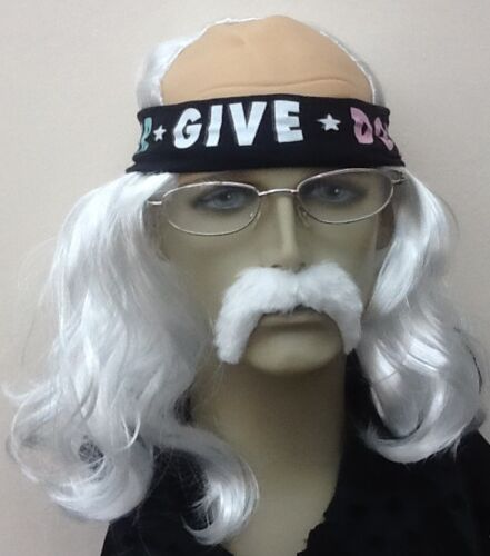 UK DISPATCH GREY LONG STRAIGHT FANCY DRESS WIG /& THICK WHITE DROOP MOUSTACHE