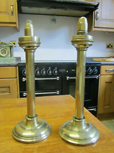 Old-Antique-Pair-Brass-Candlesticks-CandleHolders-Spring-in-columns-to-push-up