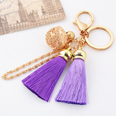 Fashion Women Ice Silk Tassel Key Ring Pendant Keychain Bag Accessories Gift New