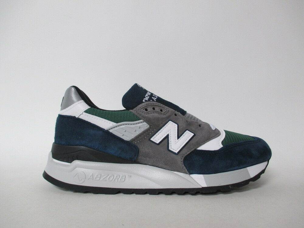 New Balance 998 Made in USA Grey Navy Green White Black Sz 12 M998NL