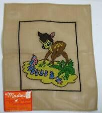 Vtg Madeira Madincor Pre Worked Needlepoint Canvas Disney Bambi w/ Birds 14 x 17