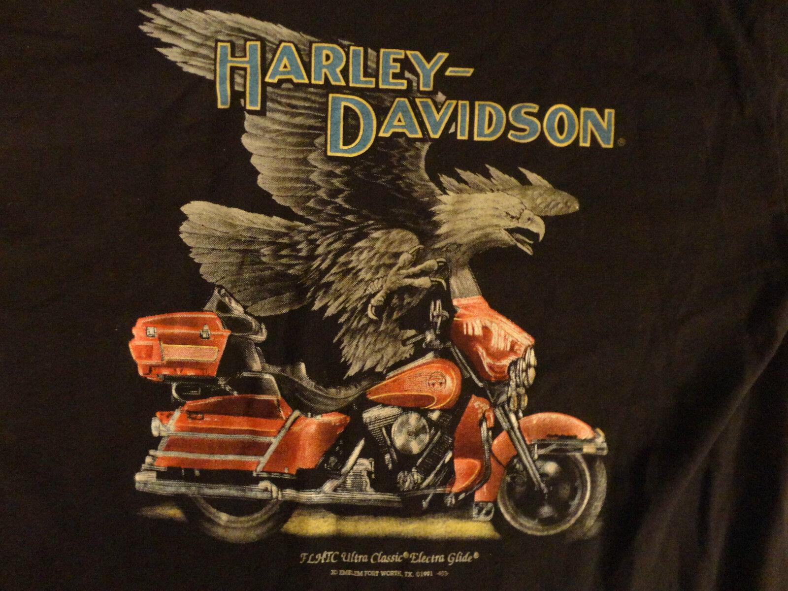 VINTAGE HARLEY DAVIDSON ORIGINAL 1991 EAGLE FT WORTH TX 3D EMBLEM RARE T Shirt L