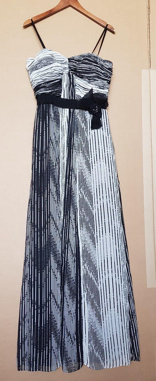 Traumhaftes Abendkleid Ballkleid schwarz weiß Crinkle Raffung Gr. S M 36 38