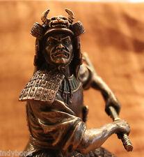 Samurai Krieger in Rüstung zieht Samuraischwert, bronziert, Veronese Figur