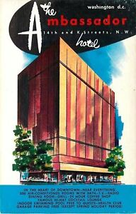 Washington-DC-Ambassador-Hotel-14th-amp-K-Streets-Artist-Drawn-1950s-Postcard