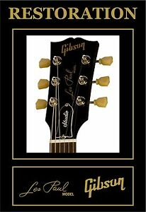 Details Zu Aufkleber Aufkleber Decal Gibson Les Paul Model Headstock Restoration Guitar