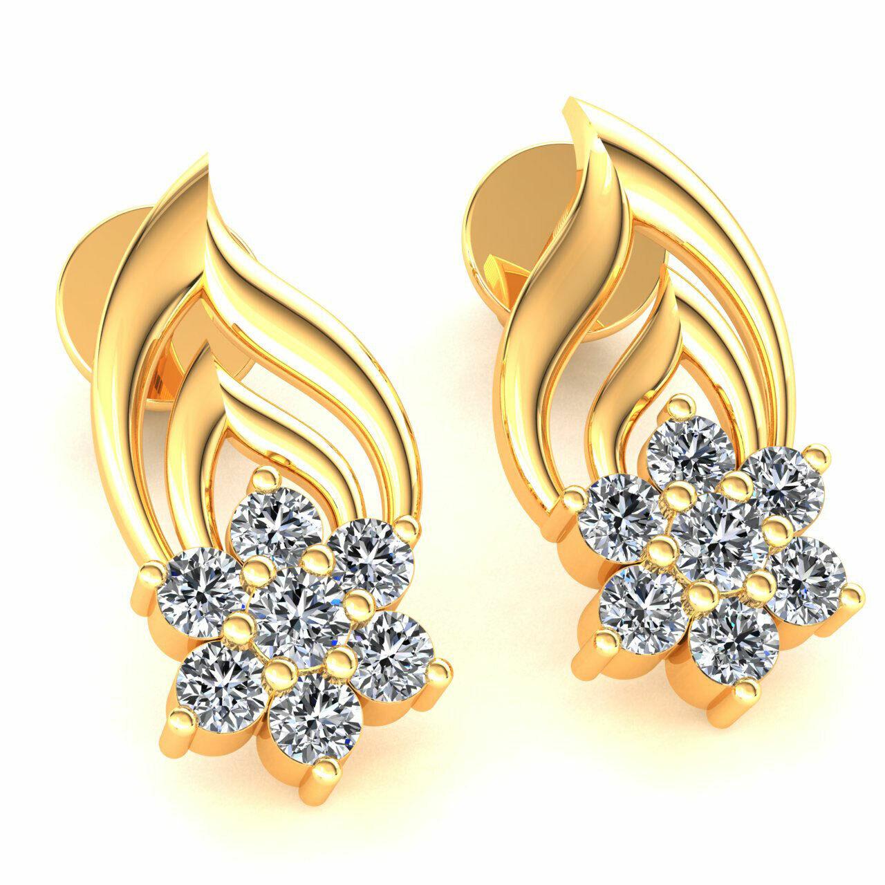 0.4ct Round Cut Not Enhanced Diamond Ladies 7Stone Flower Earrings 18K gold
