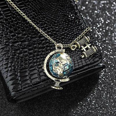 Vintage Antique Fashion Retro Enamel Earth Globe Telescope Necklace Pendant FE