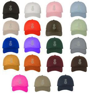 97dcb36501f Image is loading Pineapple-White-Thread-Low-Profile-Dad-Hat-Baseball-