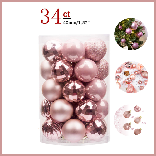 34ct Christmas Ball Ornaments Shatterproof Decorations Tree Balls Smal Rose Gold
