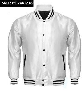 Black Satin Varsity Letterman Bomber Baseball  College Jackets Rib black /& White