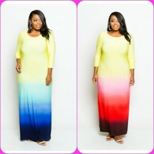 Details about Plus Size Casual 3/4 Sleeve Yellow Ombre Colored Long Maxi  Dress 1X 2X 3X