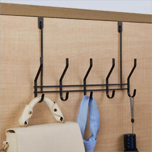 Over-The-Door-Hook-Rack-Iron-5-Hooks-Hanger-Storage-Holder-Hanging-Coat-Hat