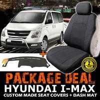 Hyundai I-max Custom Seat Covers 3 Row Set + Dash Mat 02/2008-2017 Charcoal Imax