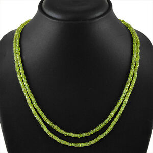 BEST-150-00-CTS-NATURAL-RICH-GREEN-PERIDOT-2-LINE-ROUND-FACETED-BEADS-NECKLACE