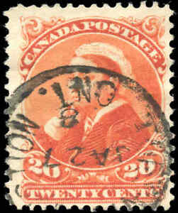 1893-Used-Canada-20c-F-Scott-46-Small-Queen-Stamp