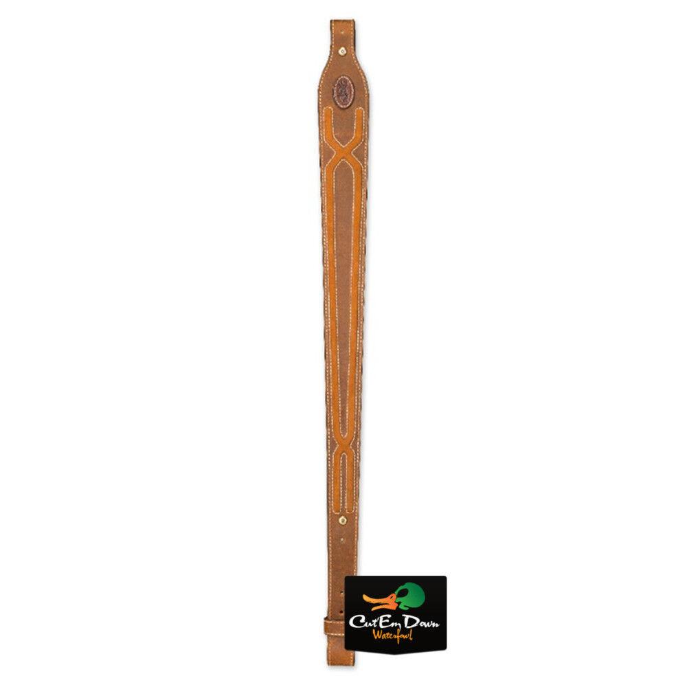 Nuevo marróning Escopeta Rifle Sling Buckmark logotipo Rancho Cuero Nobuck