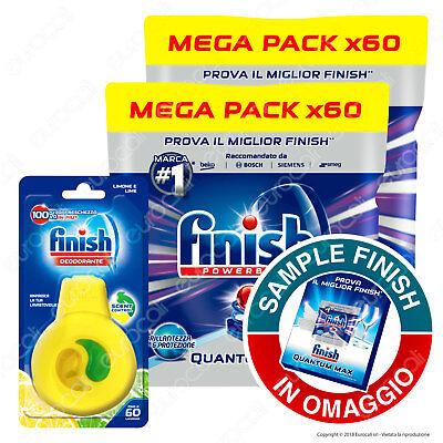 2x60 Pastiglie Finish Quantum Max Brillantezza e Protezione Tabs + Deo Limone