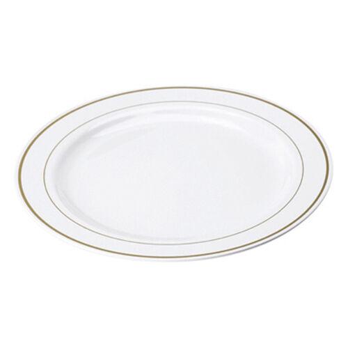100 Weiß Gold Rim 10  Plates Mozaik Strong Disposable Hard Plastic Dinner 26cm