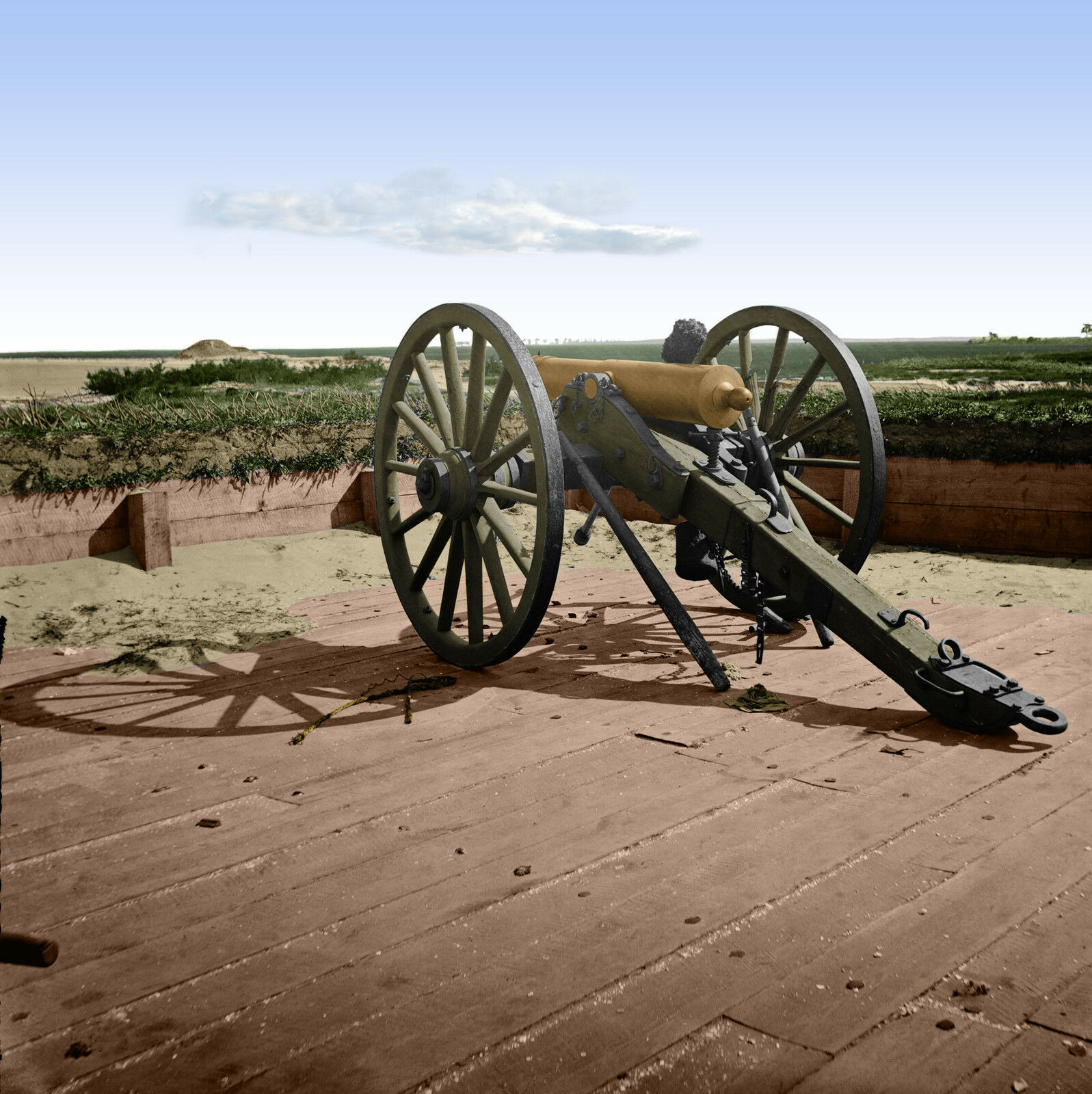 Fort Sumter Morris Island Charleston Cannon Farbe Tinted photo Civil War 03085