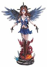 """12.25"""" Blue Fairy With Angel Wings With Dragon Collectible Figurine Statue"""