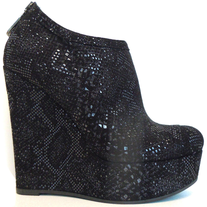 Zapatos De De De Cuero Gilda Tonelli Made In  Lujo Cuña Plataforma Alta Negro  380  cómodamente