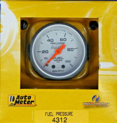 Auto Meter 4312 Ultra Lite Mechanical  Fuel Pressure Gauge 2 1//16  0-100 PSI