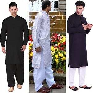 Brand-New-Men-Shalwar-Kameez-Black-White-Cotton-Blend-Salwar-Pakistani-Indian