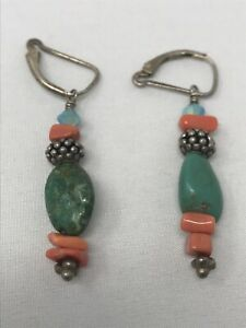 925-Sterling-Silver-Clasp-Turquoise-Stone-amp-Bead-Earrings-Drop-Dangle