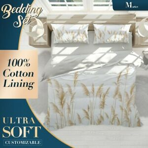 Horsetail-Grass-Leaves-Floral-Brown-Quilt-Cover-King-Size-Single-Double-Queen