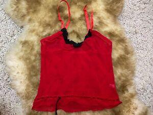 Passion-red-mesh-unpadded-wireless-Camisole-Top-sleepwear-nightwear-size-L-XL