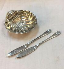 1873 CARTIER Sterling Silver SHELL Caviar Dish & Knives by Hollander & Son