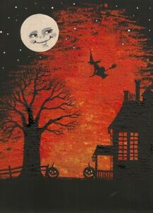 ACEO-PRINT-OF-PAINTING-HALLOWEEN-FOLK-ART-WITCH-MAGIC-MOON-RYTA-HAUNTED-HOUSE