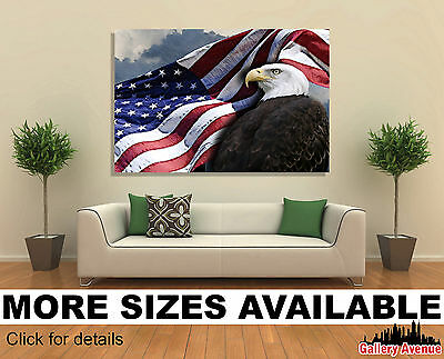 Wall Art Canvas Picture Print American Flag and Bald Eagle USA 3.2