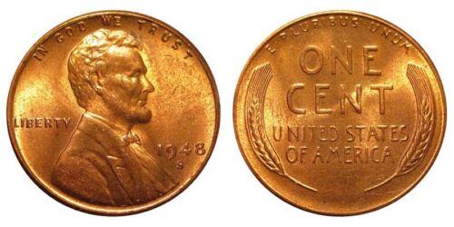 From Original Bank Wrapped  roll 1948 S BU Lincoln Wheat Cent