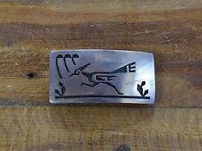 Vintage Hopi Road Runner Overlay Sterling Silver Belt Buckle