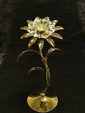 "24K Gold plated Swarovski Crystal Element 8"" Tall Sunflower Table Top Display"