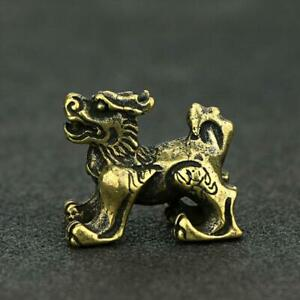 Chinese-Antique-Brass-Lion-Statue-Small-Xmas-Pocket-Gift-Good-Luck-Collectibles