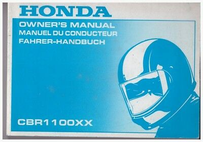 100% QualitäT Owner's Manuell; Fahrer-handbuch Honda Cbr1100xx Ausgabe 2000 Novel (In) Design;