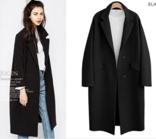 Parka Long Woolen Trench Outwear Tykke Coat Jacket Lapel Overcoat Løse Dame 8xIqCv5wn